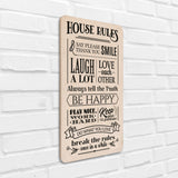 House Rules Wooden Board Left View