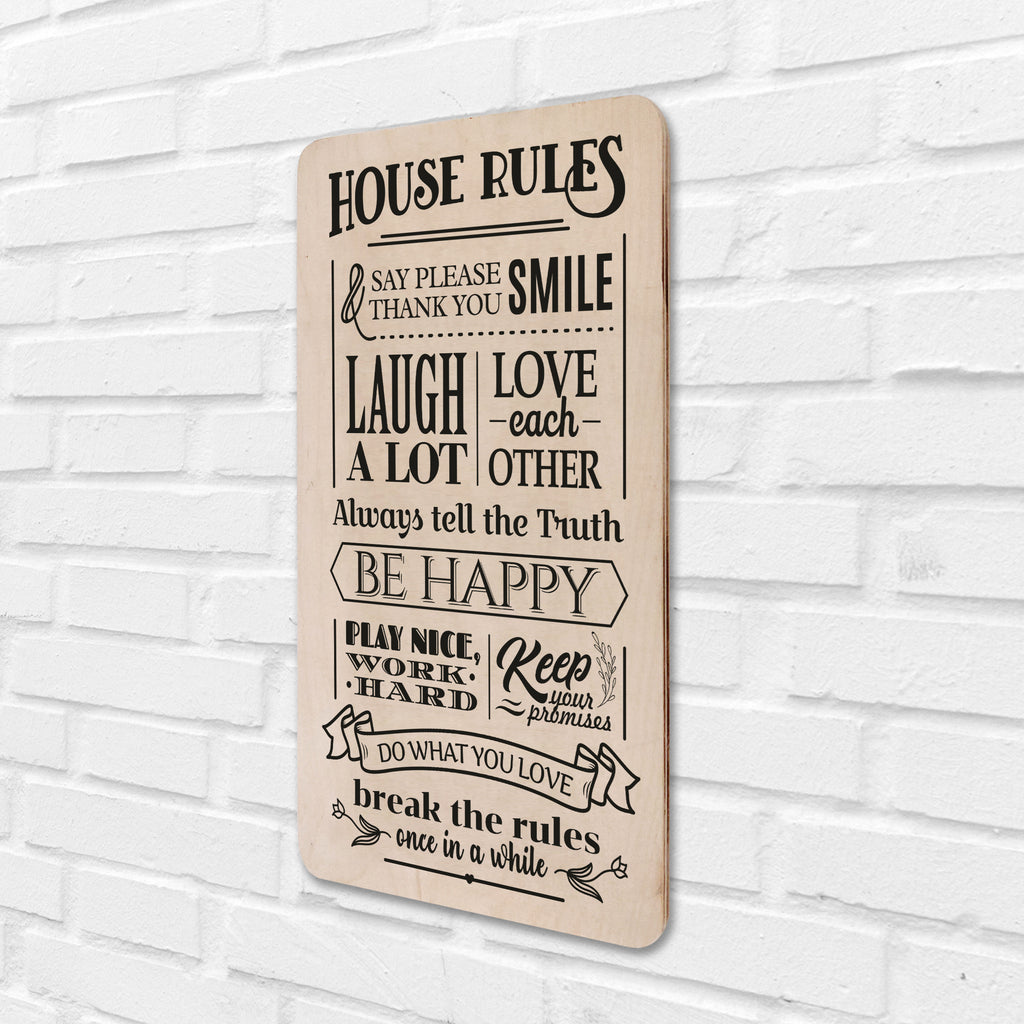 House Rules Wooden Board Right View