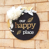 Our Happy Place Gold Floral Wooden Board, Size 12x12 Inches
