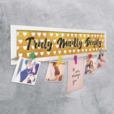 Truly Madly Deeply Photo Hanger With Wooden Clips, Size 19x5 Inches