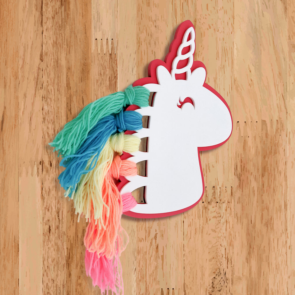 Unicorn Rainbow Hair Wooden Accent Left View