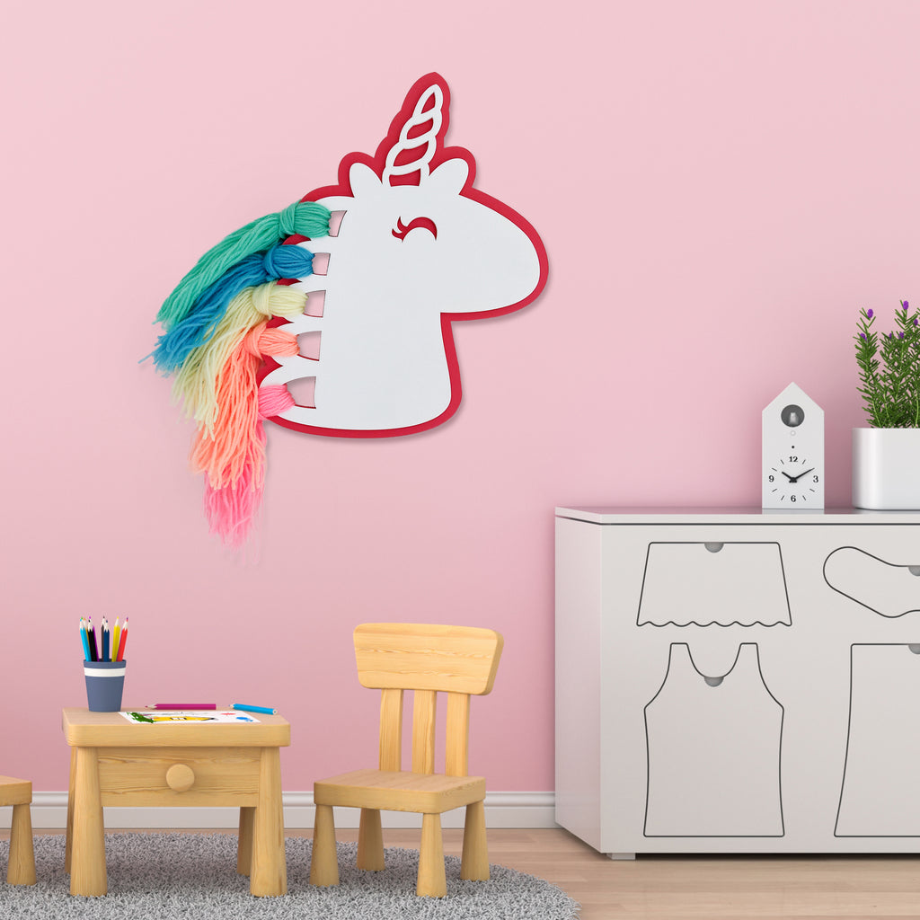 Unicorn Rainbow Hair Wooden Accent Mock