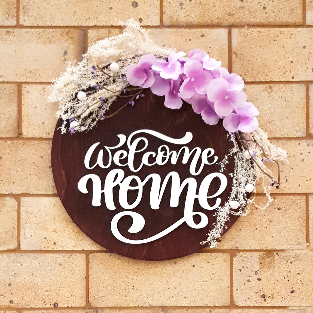 Welcome Home Floral Wooden Board, Size 12x12 Inches