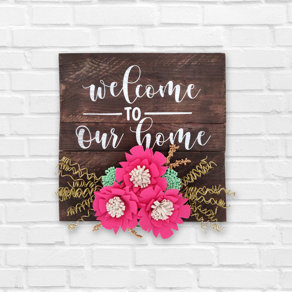Welcome To Our Home Floral Pinewood Board Front View