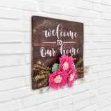 Welcome To Our Home Floral Pinewood Board Left View