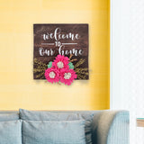 Welcome To Our Home Floral Pinewood Board Mock