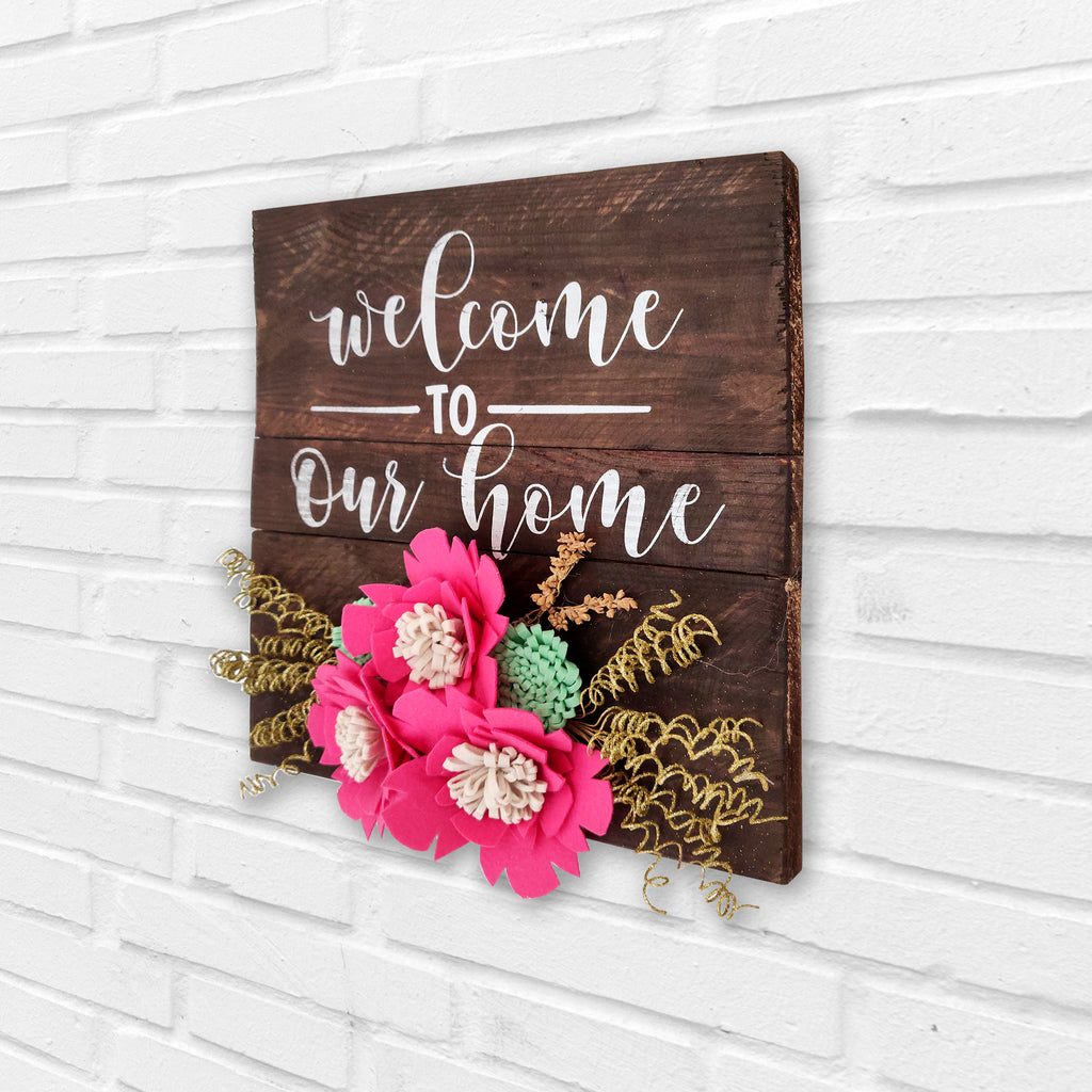 Welcome To Our Home Floral Pinewood Board Right View