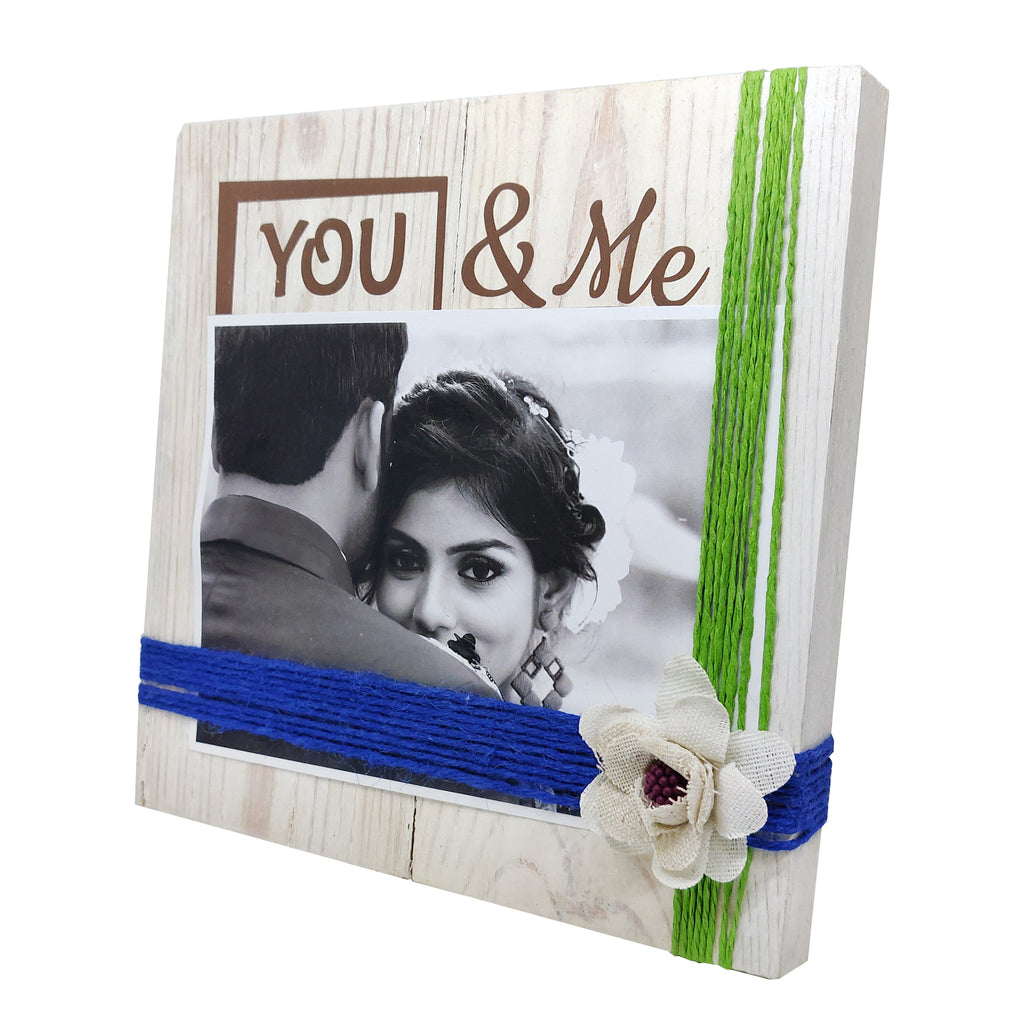 Photo Desk Board You & Me Green Thread Right