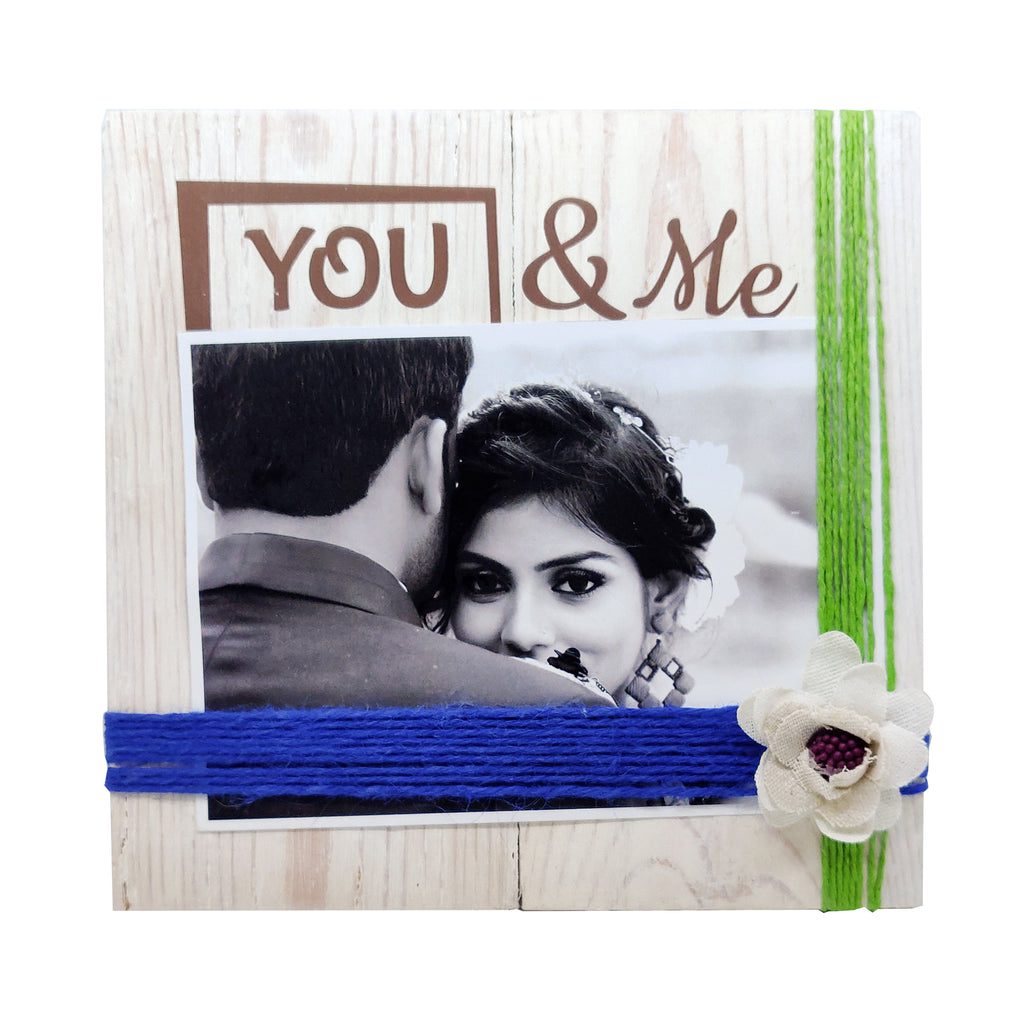 Photo Desk Board You & Me Green Thread Front