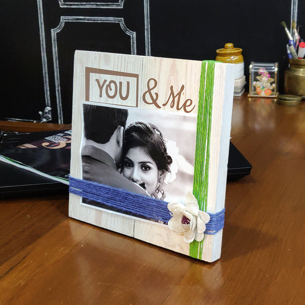 Photo Desk Board You & Me Green Thread Mock