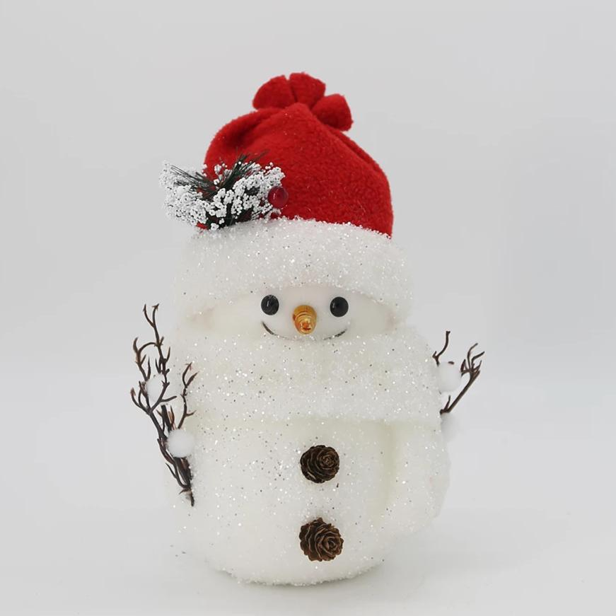 Snowman with Pinecone Buttons/Red