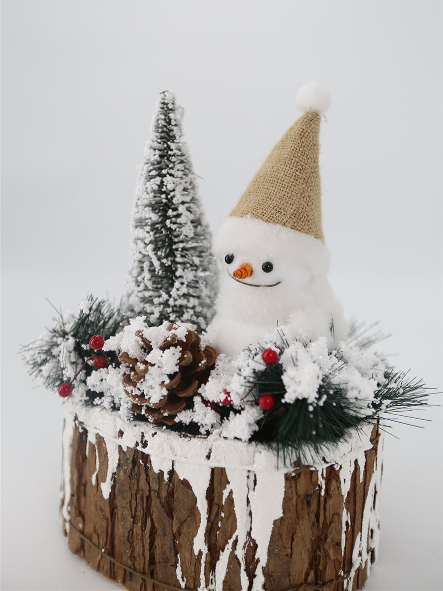 Snowman on Wood Pile Medium