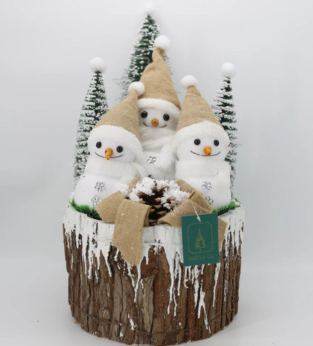 Snowmen on Wood Pile Large