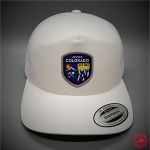 860e6a0d3cc Denver Colorado Woven Patch on - Yupoong 6506 Retro Trucker Snapback Cap -  Patches On Caps