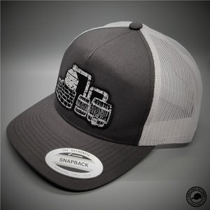 Moonshine Still Woven Patch on - Yupoong 6506 Retro Trucker Snapback Cap -  Patches On Caps 0adb7be0e545