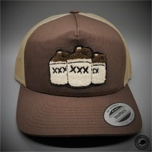 63a6ba81617 Moonshine Jugs Chenille Patch on - Yupoong 6506 Retro Trucker Snapback Cap  - Patches On Caps