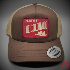 76d8ce4a123 Paddle the Colorado Woven Patch on - Yupoong 6506 Retro Trucker Snapback Cap  - Patches On