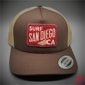 8e02eaf9fde Surf San Diego Chenille Patch on - Yupoong 6506 Retro Trucker Snapback Cap  - Patches On