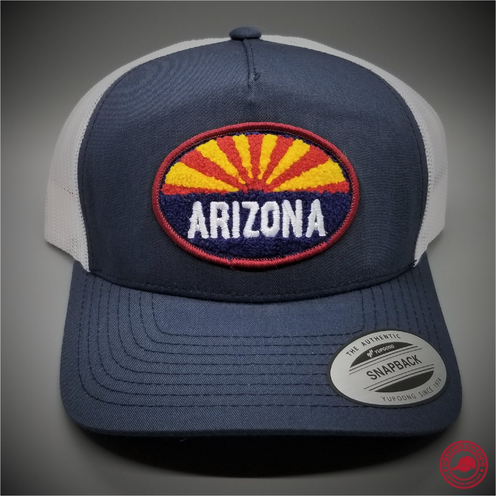 bbedee3e Arizona Chenille Patch on - Yupoong 6506 Retro Trucker Snapback Cap -  Patches On Caps