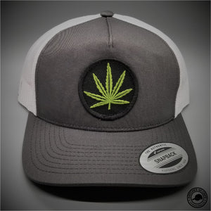 1dbf6ac2bea Cannabis Leaf Embroidered Patch on - Yupoong 6506 Retro Trucker Snapback Cap  - Patches On Caps