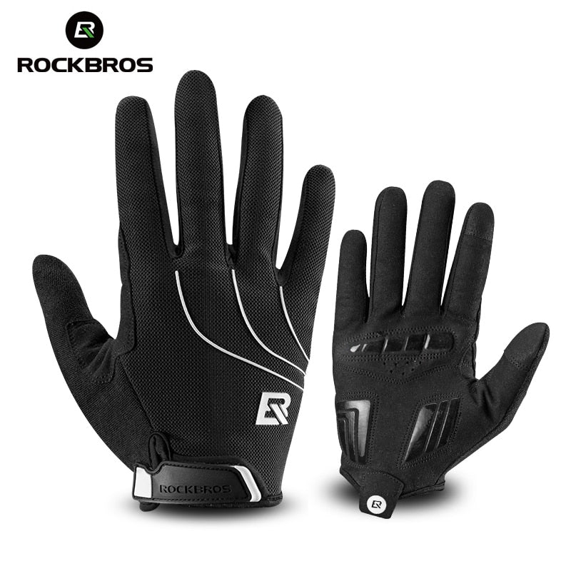 ROCKBROS Cycling Long Full Finger Sporting Touch Screen Gloves-Cobweb Black Red