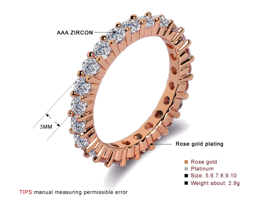 ID:R034 Women 14K Rose Gold GF Diamond Wedding Engagement Eternity Band Ring