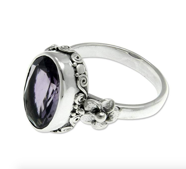 NOVICA Women Jewelry Handcrafted .925 Sterling Silver 'Frangipani Allure' Amethyst Floral Ring