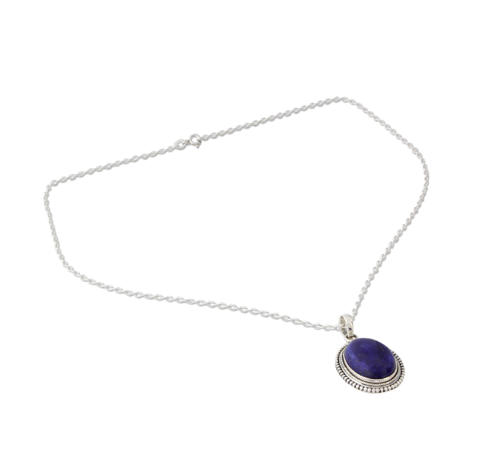 NOVICA Women Jewelry Handmade .925 Sterling Silver 'True Clarity' Lapis Lazuli Pendant Necklace 18""