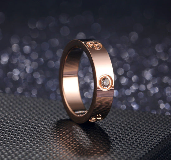 ID:R016 Women Jewelry Rose Gold Plated Titanium Steel Classic Engagement Wedding Band Ring