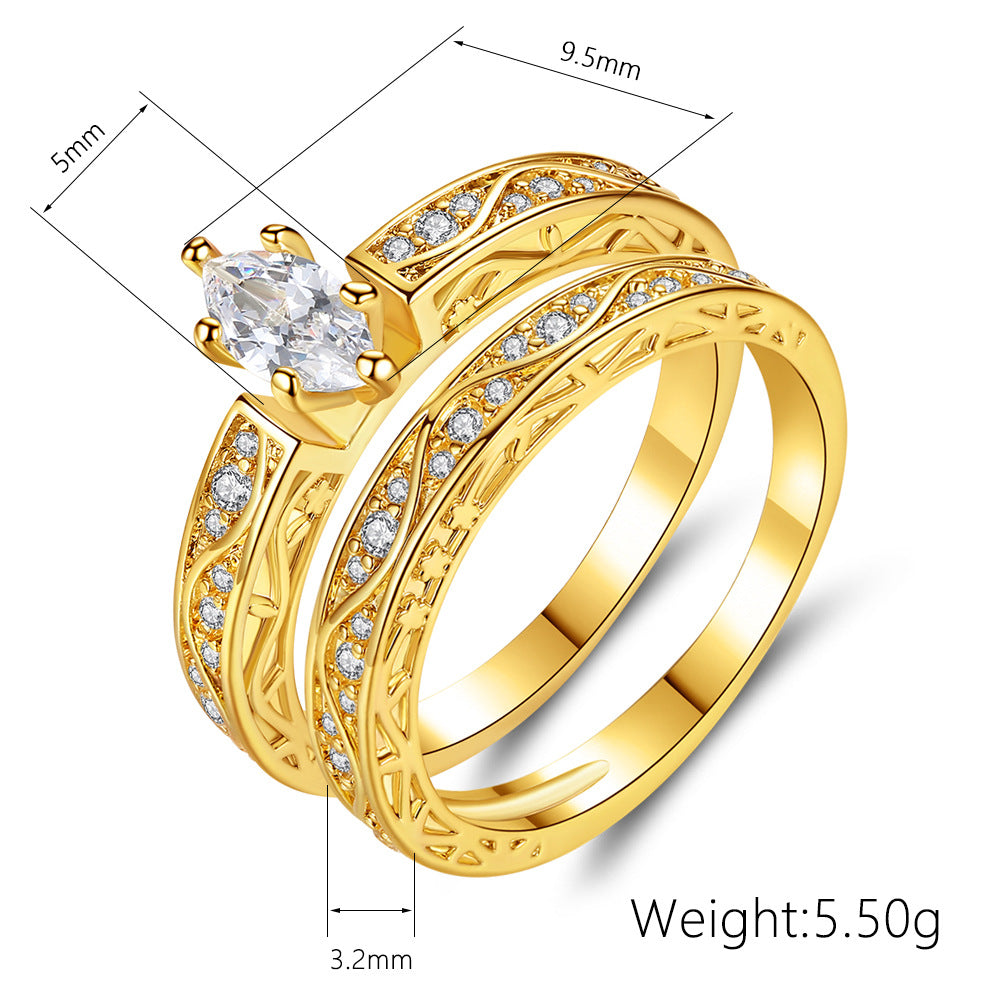 ID:R043 Women Jewelry 14K Yellow Gold GF Diamond Wedding Engagement Promise Statement Anniversary Bridal Band Ring Set