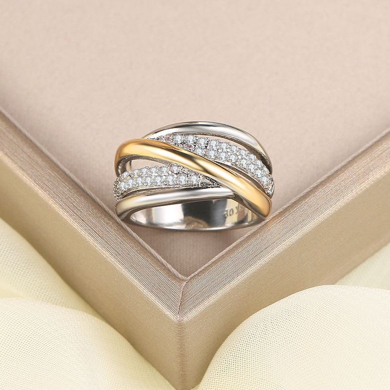 ID:R082 Women Jewelry 18K White Gold GP Wedding Engagement Promise Statement Anniversary Bridal Band Ring Set