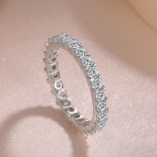 ID:R036 Women Vintage Jewelry 18K White Gold GF Radiant Engagement Wedding Promise Diamonique Bridal Eternity Band Ring