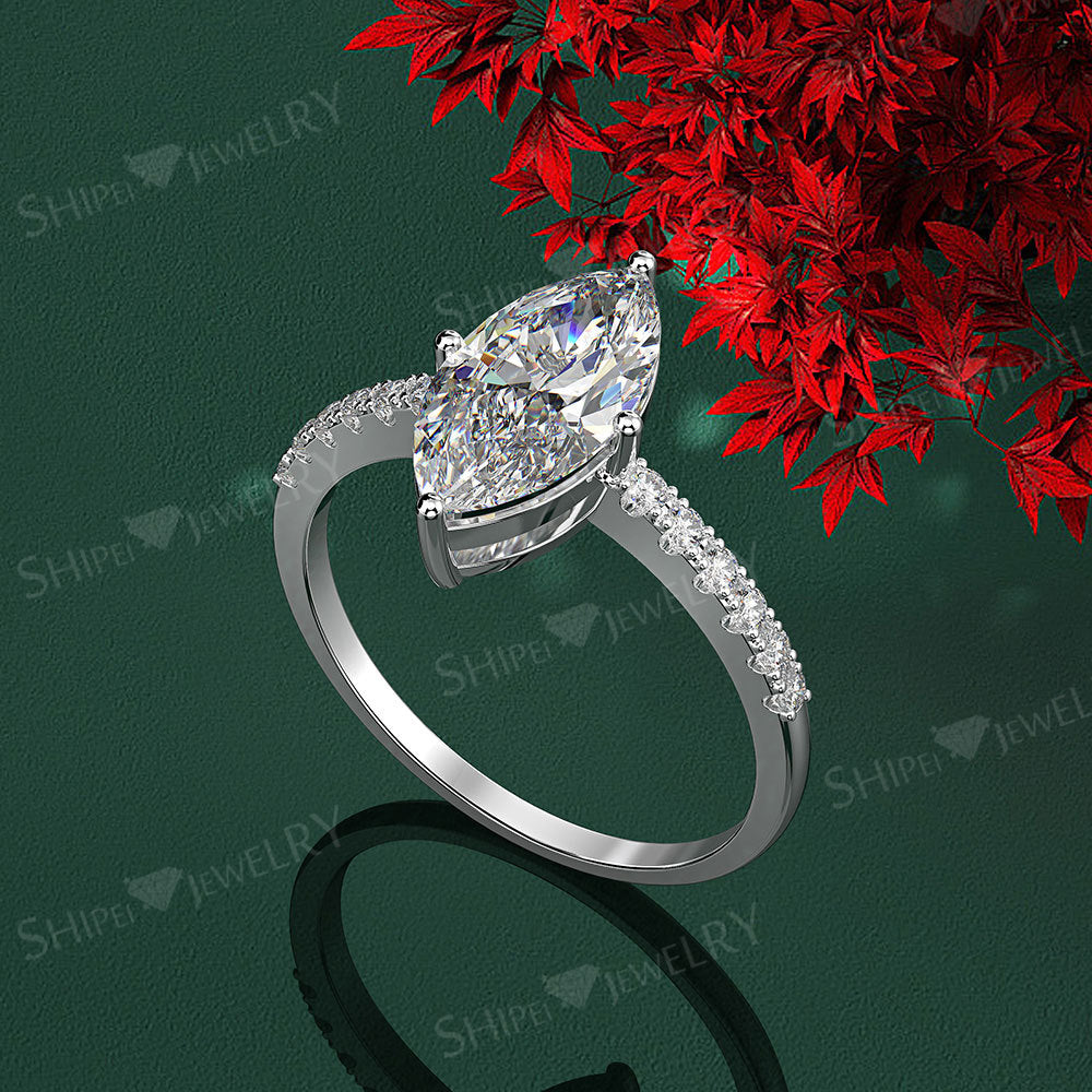 ID:R106 Women 18K White Gold GF Antique Jewelry Engagement Wedding Ring Solitaire With Accent