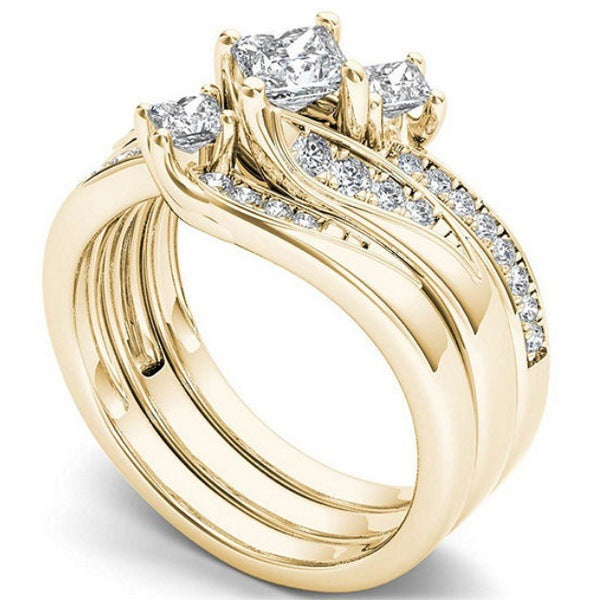 ID:R026 Women 18K Yellow Gold GF Antique Promise Jewelry Engagement Wedding 3pcs Bridal Ring Sets