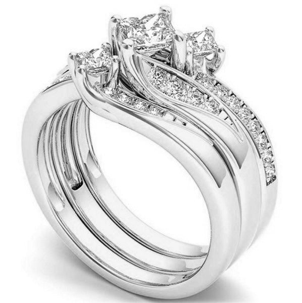 ID:R026 Women 18K White Gold GF Antique Promise Jewelry Engagement Wedding 3pcs Bridal Ring Sets
