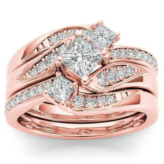 ID:R026 Women 18K Rose Gold GF Antique Promise Jewelry Engagement Wedding 3pcs Bridal Ring Sets