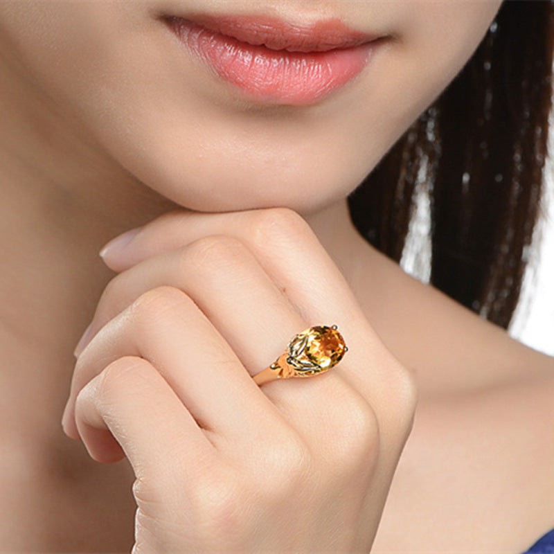 ID:R073 Women Jewelry 18K Yellow Gold GP Wedding Engagement Promise Statement Anniversary Ring
