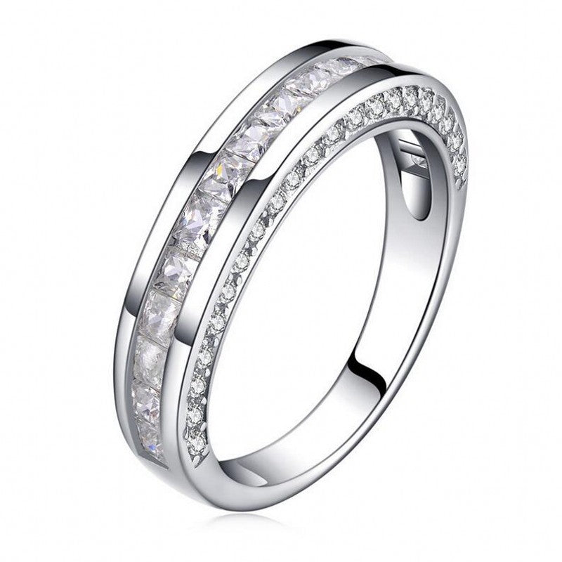 ID:R112 Women 18K White Gold GF Antique Jewelry Engagement Wedding Band Ring With Accent