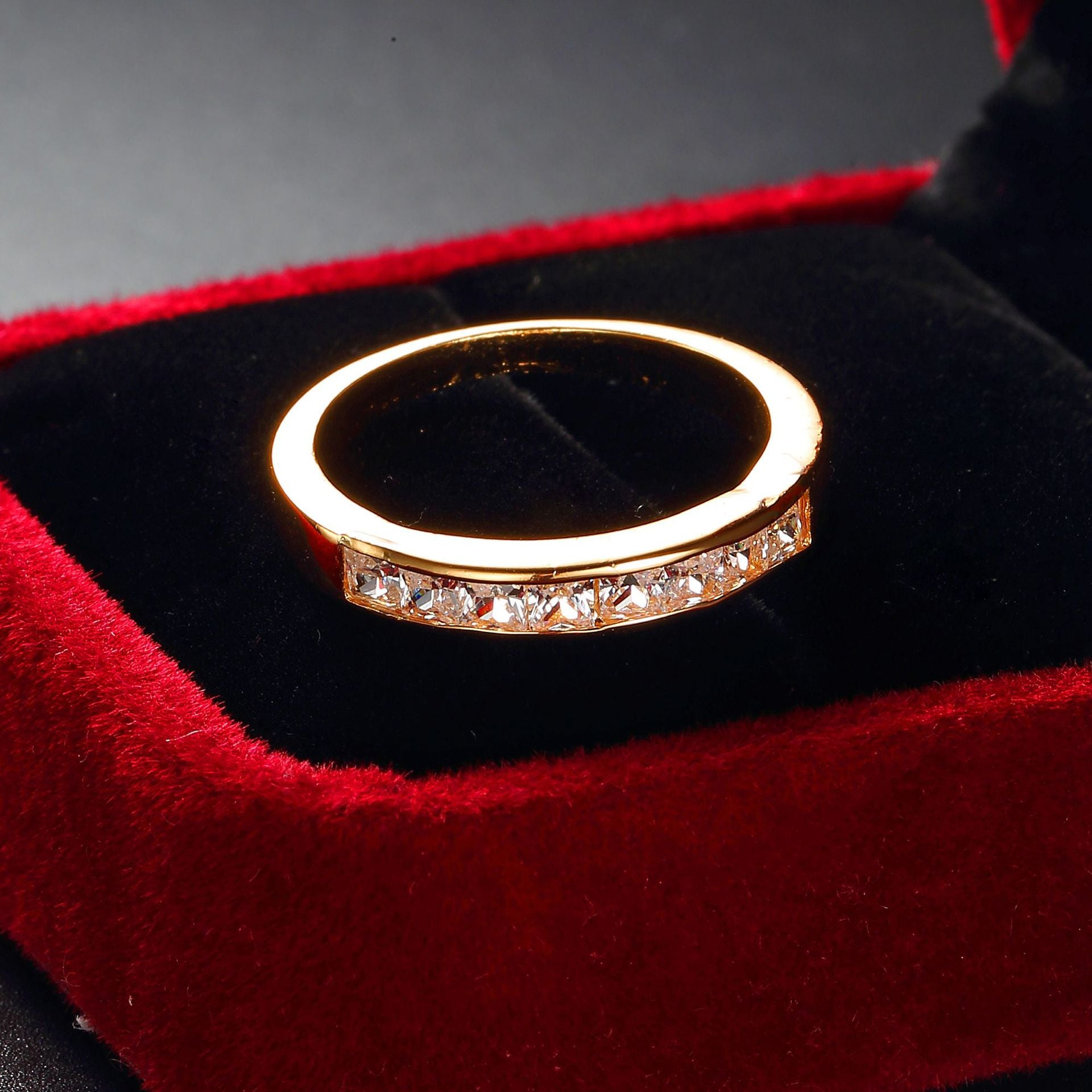ID:R118 Women 18K Rose Gold GF Antique Jewelry Engagement Wedding Promise Statement Anniversary Band Ring With Accent Great Gift