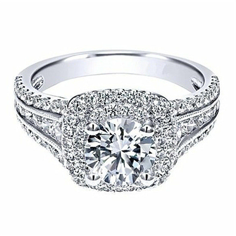 ID:R100 Women 18K White Gold GF Antique Jewelry Engagement Wedding Ring Solitaire With Accent
