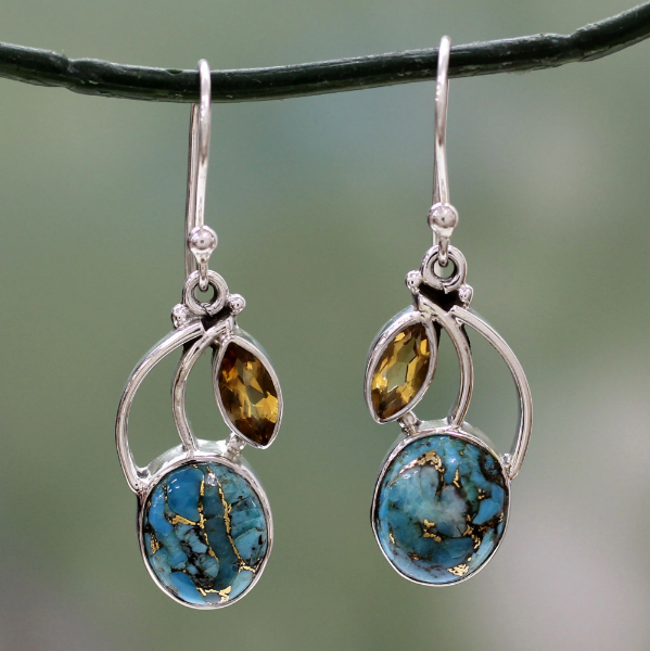 NOVICA Handmade Sterling Silver 'Modern Mystique' Citrine Reconstituted Turquoise Dangle Earrings