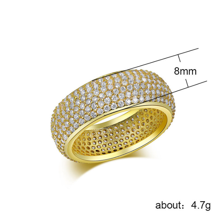 ID:R098 18K Yellow Gold Plated Women Fashion Jewelry Cubic Zirconia Eternity Engagement Wedding Statement Band Ring