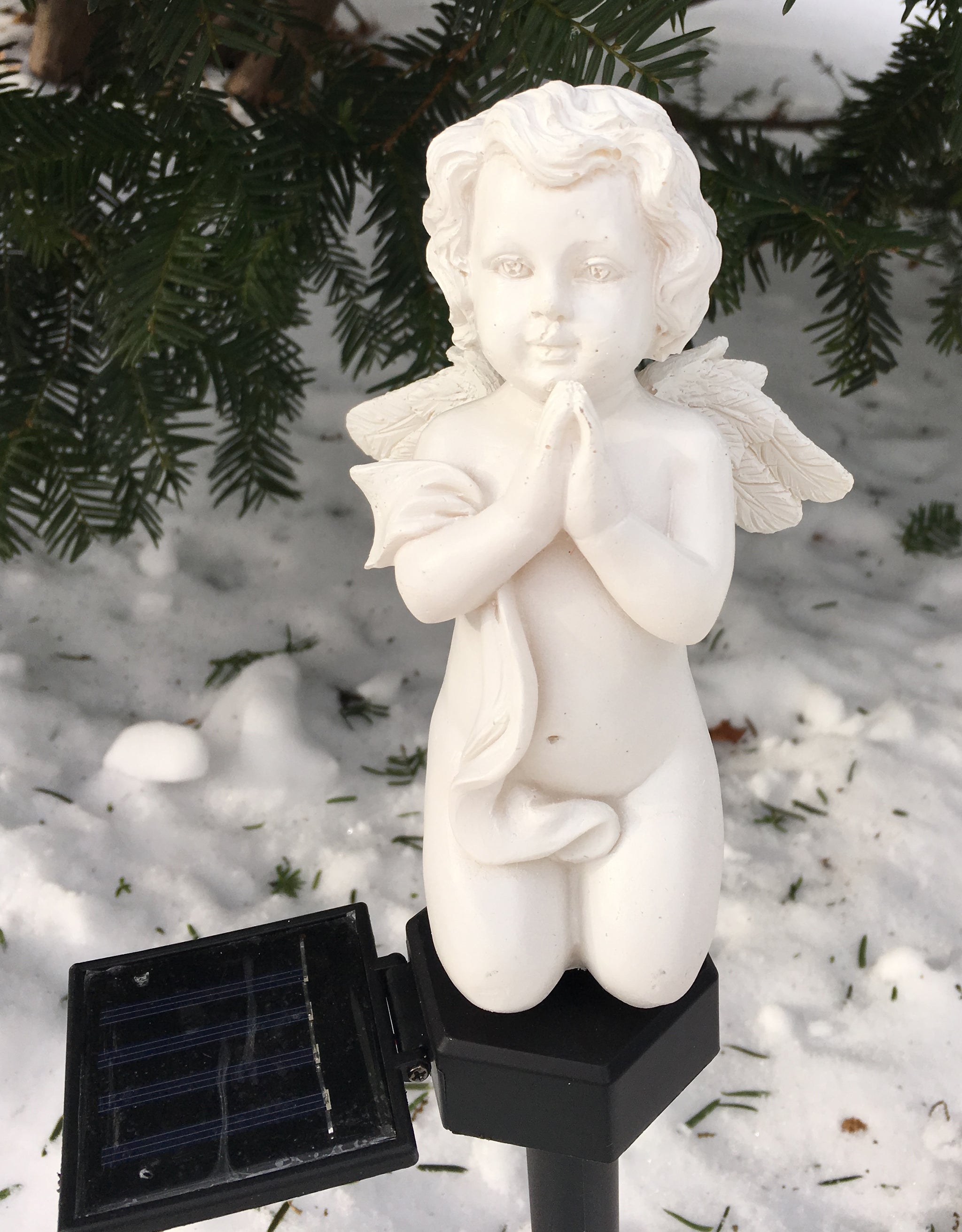 Solar Cherub Cupid Angel Light Garden Pathway Stake Outdoor Decor Landscape Color Change LED Lamp