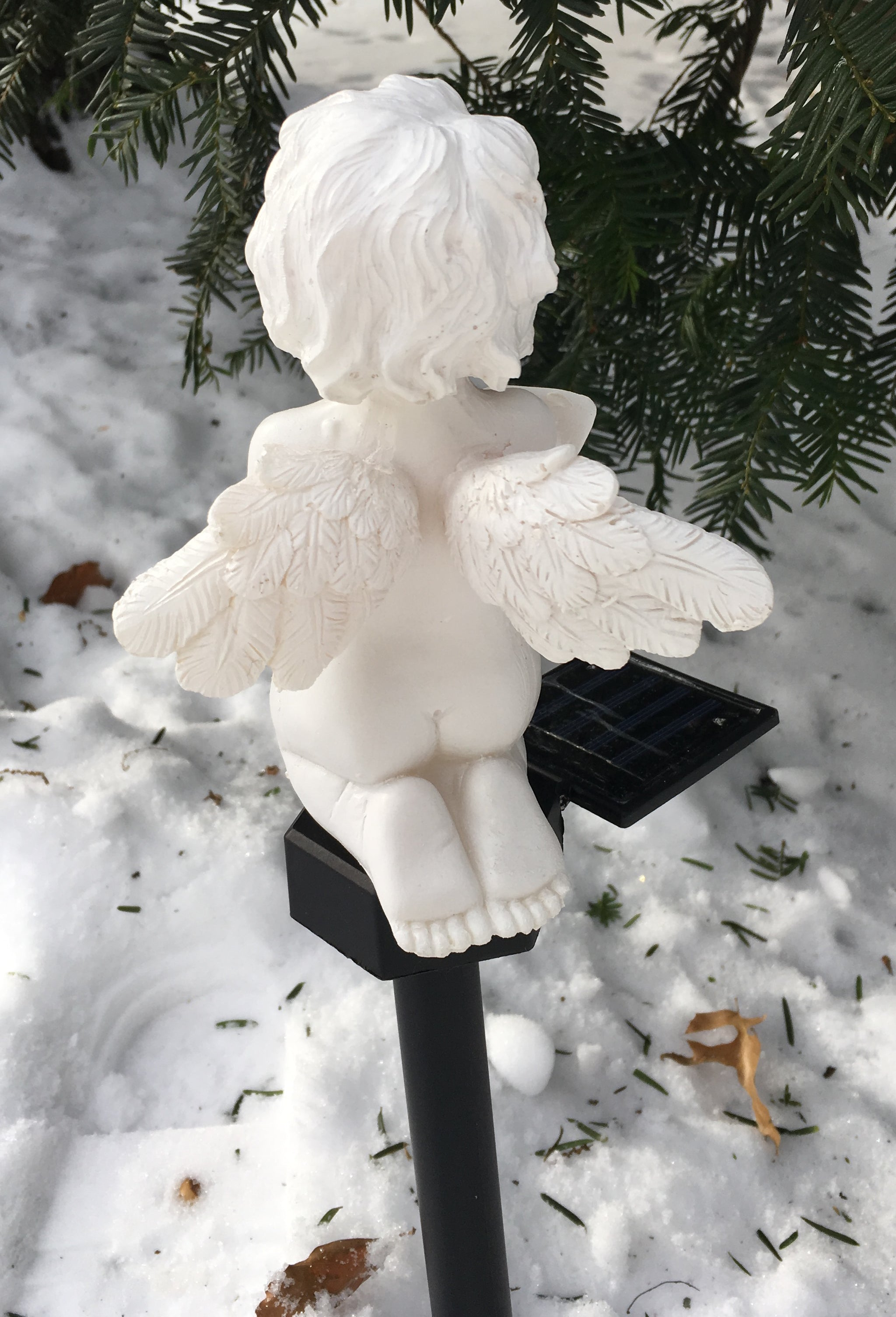 Solar Cherub Cupid Angel Light Garden Pathway Stake Outdoor Decor Landscape White LED Lamp