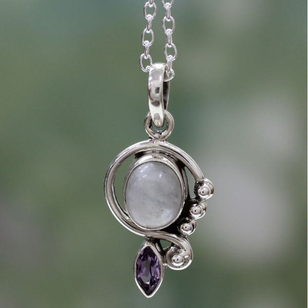 NOVICA Handmade .925 Sterling Silver 'Yours Forever' Rainbow Moonstone Amethyst Pendant Necklace 18""