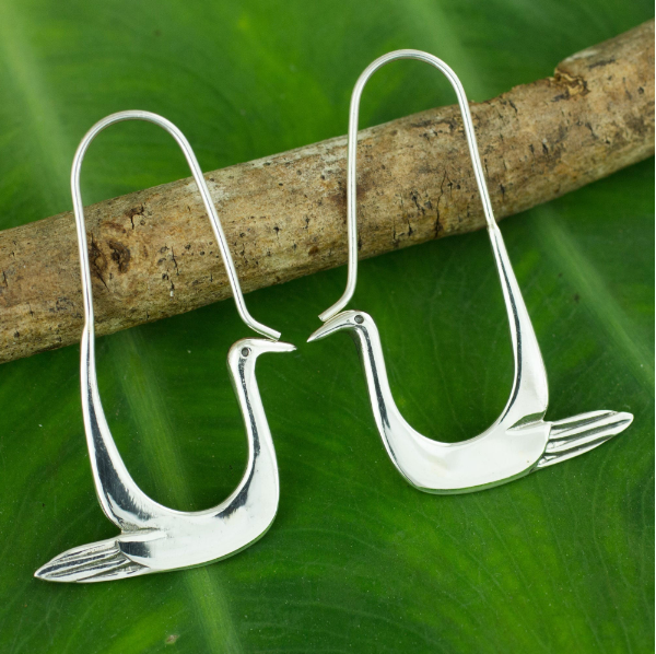 NOVICA Handmade 925 Sterling Silver Hover Hoop 'Silver Dove' Bird Design Women Modern Dangle Earrings