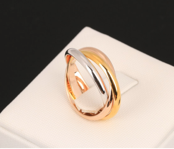 ID:R087 Women Fashion Jewelry 18K White/Rose/Yellow Gold Plated Triple Band Interlocked Rolling Ring