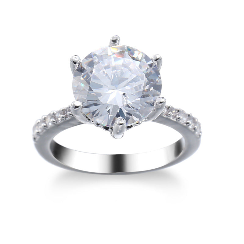ID:R114 Women 18K White Gold GF Antique Jewelry Engagement Wedding Ring Solitaire With Accent