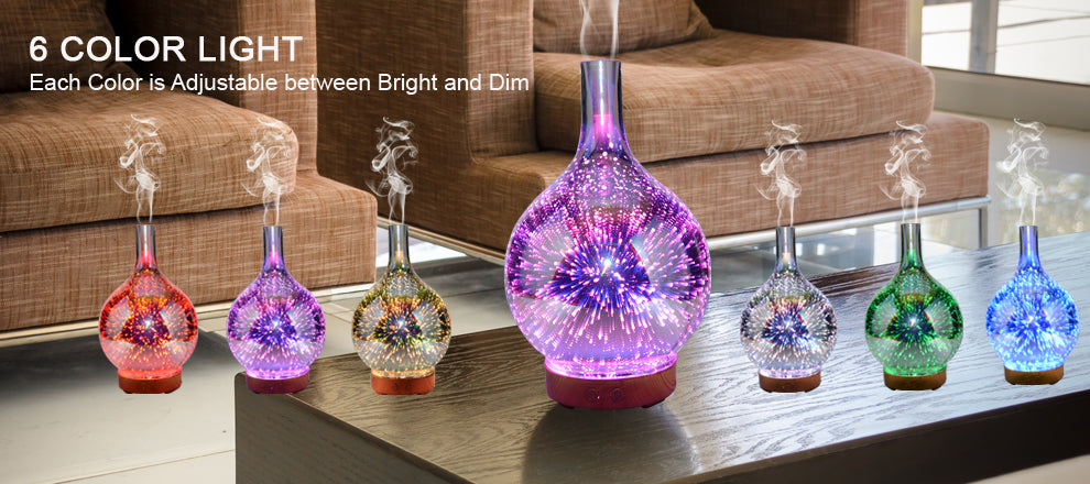 ID: PR-23, 100ml 3D Firework Glass Essential Oil Aroma Diffuser LED Ultrasonic Humidifier