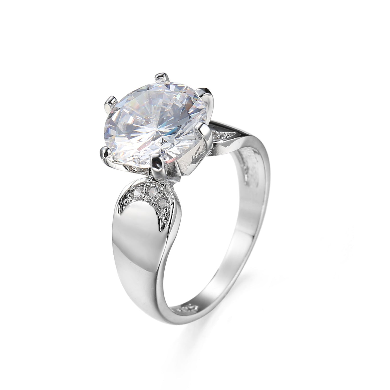 ID:R115 Women 18K White Gold GF Antique Jewelry Engagement Wedding Ring Solitaire With Accent